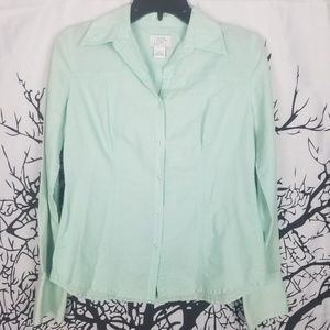 Loft | Teal Button Down Blouse long sleeve small